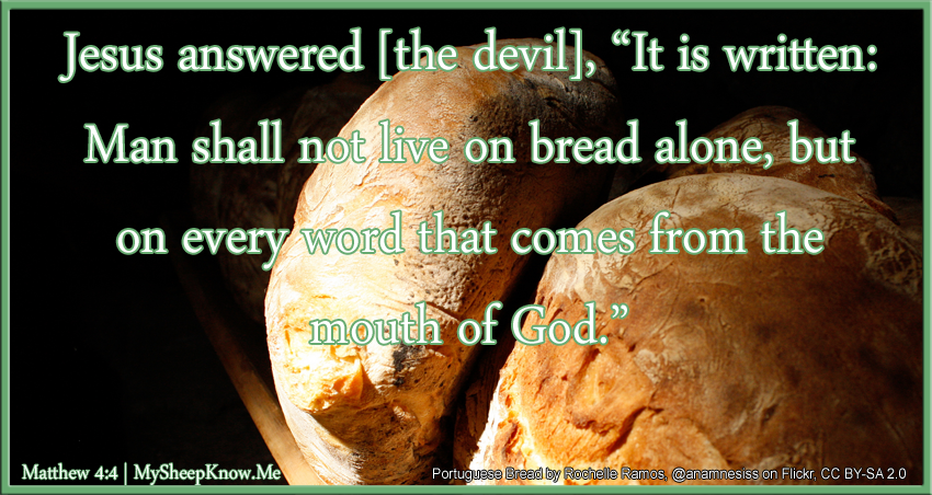 "Jesus answered the devil, ""It is written: Man shall not live on bread alone, but on every word that comes from the mouth of God."""