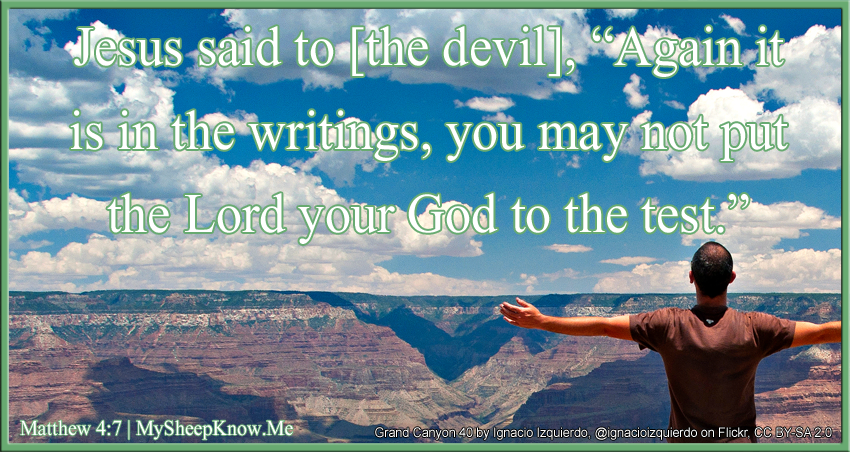 "Jesus said to the devil, ""Again it is in the writings, you may not put the Lord your God to the test."""